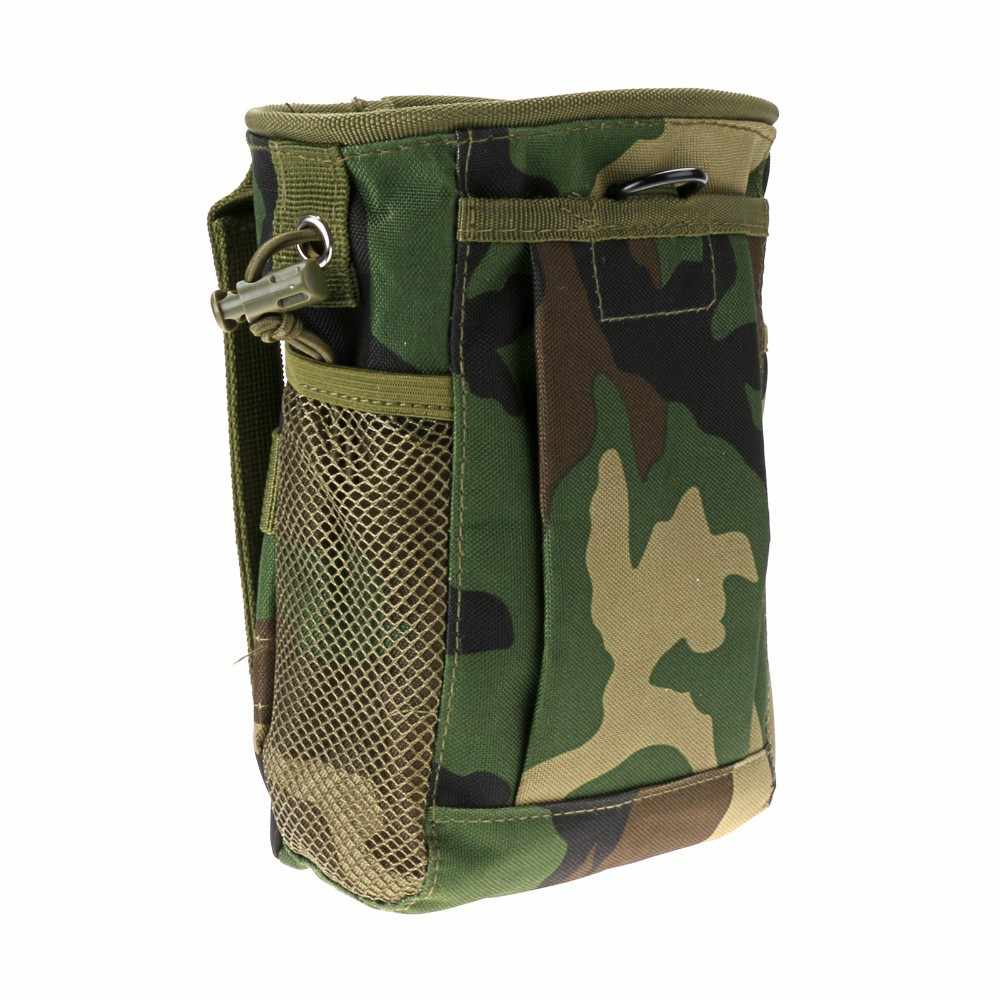 Military Magazine Drop Pouch Bag Tactical Gun Magazine Dump Drop Reloader Pouch Utility Hunting Rifle Ammo Pouch Woodland Camo