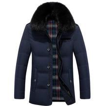 2017 White Duck Down Winter Jacket Men's Thickening Casual Warm Fur Collar Jacket Winter Hooded Brand Coat Parkas