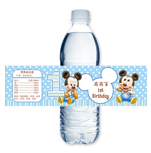 Well-liked 10 X Personalized Mickey Mouse Water Bottle Label Wedding  VZ94