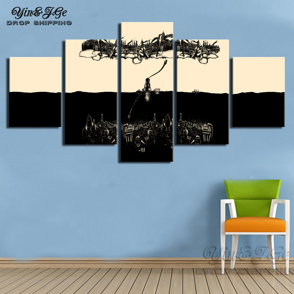 Modern cuadros wall art 5 pieces canvas painting bioshock infinite rapture beacon hd print game poster pictures