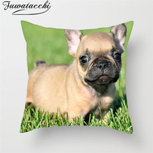 Fuwatacchi Cute Poppy Paint Home Decor Cushion Cover Animal Dog Pillow Chair Sofa French Bulldog Decorative Case