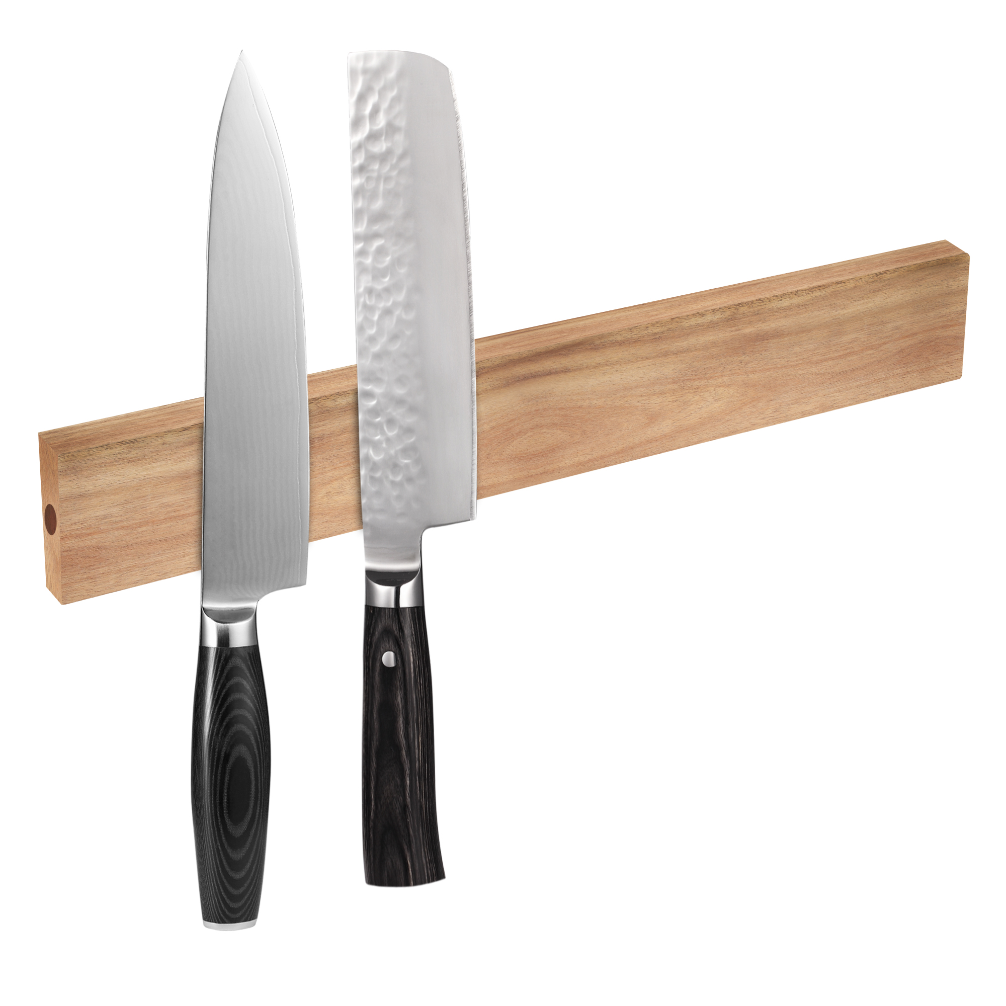 Hecef 6/12 Inches Magnetic Knife Strip, Acacia Wooden Knife Holder For Storaging All Kinds Of Metal Items