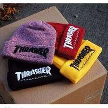 2016 Men's Winter Caps Thrasher Cotton Warm Knitted Men Women Hot Hip Hop Men Womens Casual Hat Female Beanies #CAP6A47