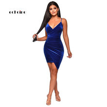 929af987fd3 (Schiff aus US) Echoine Party Kleid Frauen Sexy Samt Bodycon Backless  V-ausschnitt Midi Mantel Unregelmäßigkeit Saum Royal Blau Damen Kleider El..