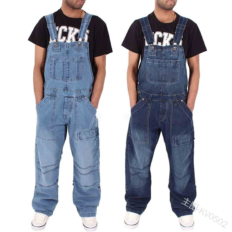 New Fahsion Mannen Casual Losse Pocket Overalls Comfortabele Denim Jumpsuits Bib Pants Plus Big Size Jeans Voor Man Blauw Broek