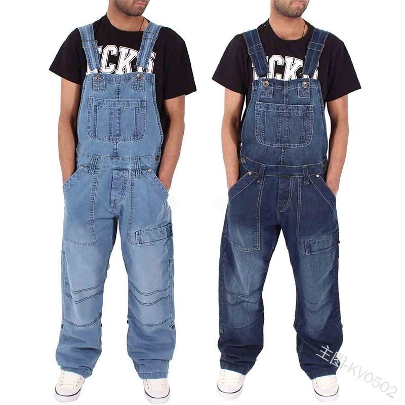 New Fahsion Mannen Casual Losse Pocket Overalls Comfortabele Denim Jumpsuits Bib Pants Plus Big Size Jeans Voor Man Blauw Broek