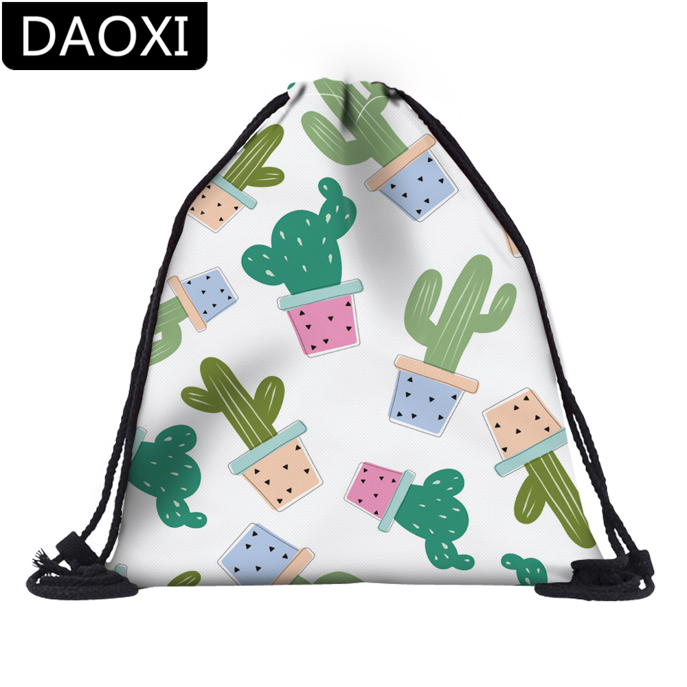 DAOXI 3D Printed Kaktusy Cactuses Drawstring Bags For School Travel Backpacks DX35780