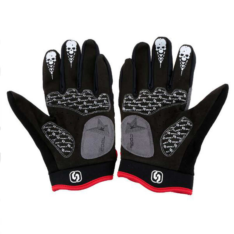WEST BIKING Winter Cycling Gloves Silicone GEL Thermal Fleece Guantes Skull Motorcycle Bike Gloves Full Finger Bicycle Gloves