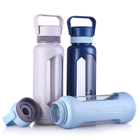 950ml Glass Water Bottle Fruit Juice Leak Proof Transparent My Glass Coffee Mug Large Capacity Bottles With Protection