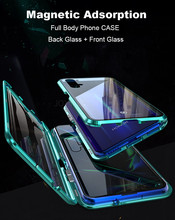 Egeedigi Magnetic Adsorption Metal Case For Huawei Honor 8X V10 Honor10 Lite Mate20X Dual Tempered Glass Aluminum Bumper Cover(China)