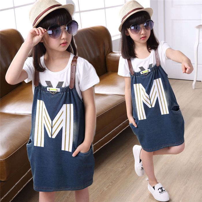 2015 new Casual Fashion summer style girl dress girls clothes kids dresses  Strap Sleeveless Denim Blue children clothing LM150 679822b3f