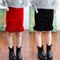 Kniting 2-7y muchacha de los cabritos Acanalada tutu falda de lentejuelas muchacha del niño primavera/otoño ropa de bebé suave falda 2016 nuevo