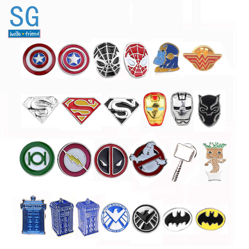SG Avengers Bros Thor Flash Captain America Superman Deadpool Dokter Panther Hitam Thanos Masker Pin Pria Mantel Perhiasan