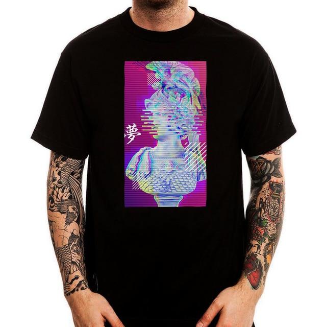 Guerra Estátua Ceasar Vaporwave Estética Retro Impresso T-Shirt Top Nova Marca T Camisas dos homens