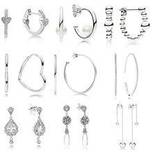 9 Стиль 925 стерлингового серебра серьги пуссеты с подвесками