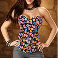 Women Party Clubwear Lace Up Black Vintage Black Denim Floral Corset & Bustier Top Jeans Overbust Flower Corselet+G-string