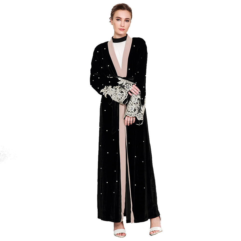 Europe and the Middle East Muslim long sleeved beaded lace stitching gold velvet cardigan robes female