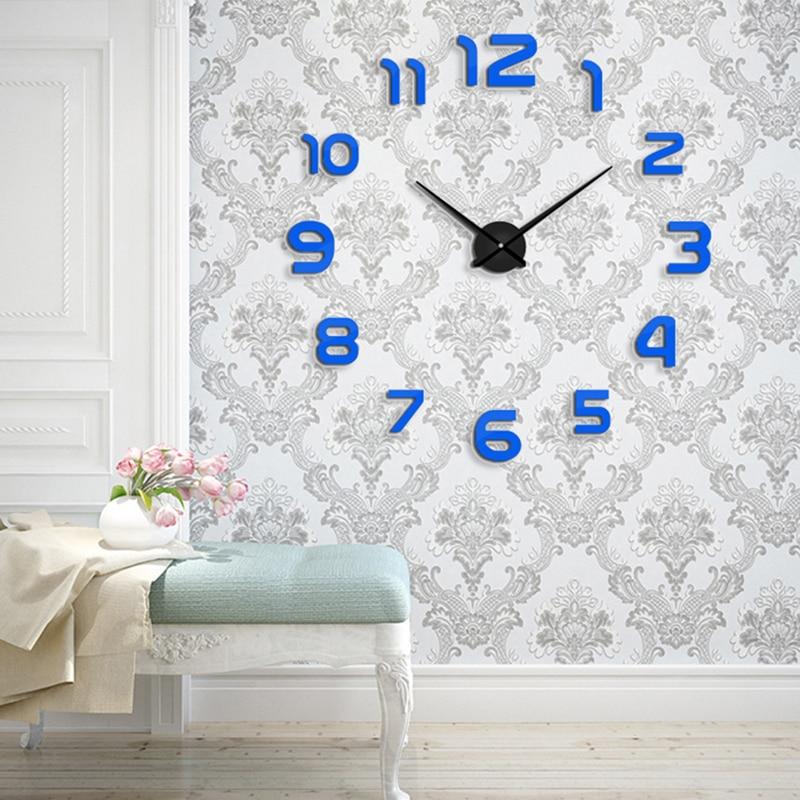 Muhsein Новинка 2017 года из металла moderm DIY настенные часы акриловые металлические зеркала настенные часы украшения дома супер большой Часы Бесплатная доставка