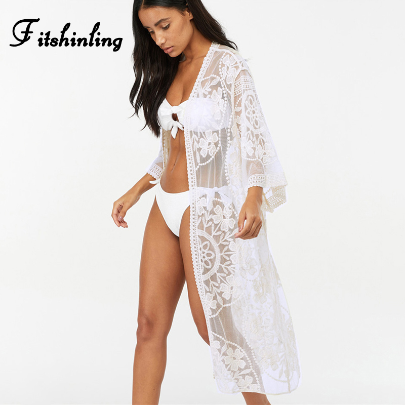 Fitshinling Flower lace beach cover up swimwear kimono flare sleeve see through long cardigan bikini outer cover sexy cover-ups