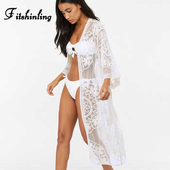 Fitshinling Flower lace beach cover up swimwear kimono flare sleeve see through long cardigan bikini outer cover sexy cover-ups - DISCOUNT ITEM  47% OFF All Category
