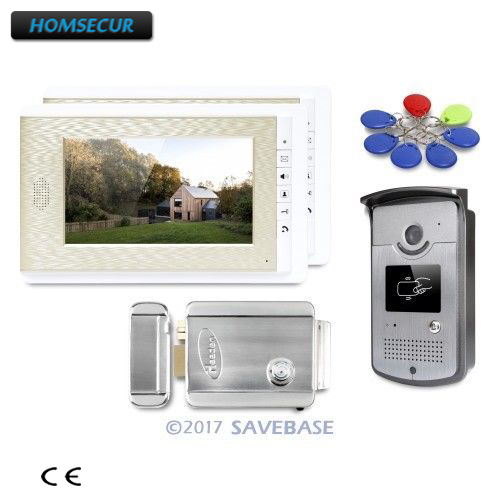 HOMSECUR 7inch Hands-free Video Door Entry Call System With Intra-monitor Audio Intercom 1V2+Electric Lock