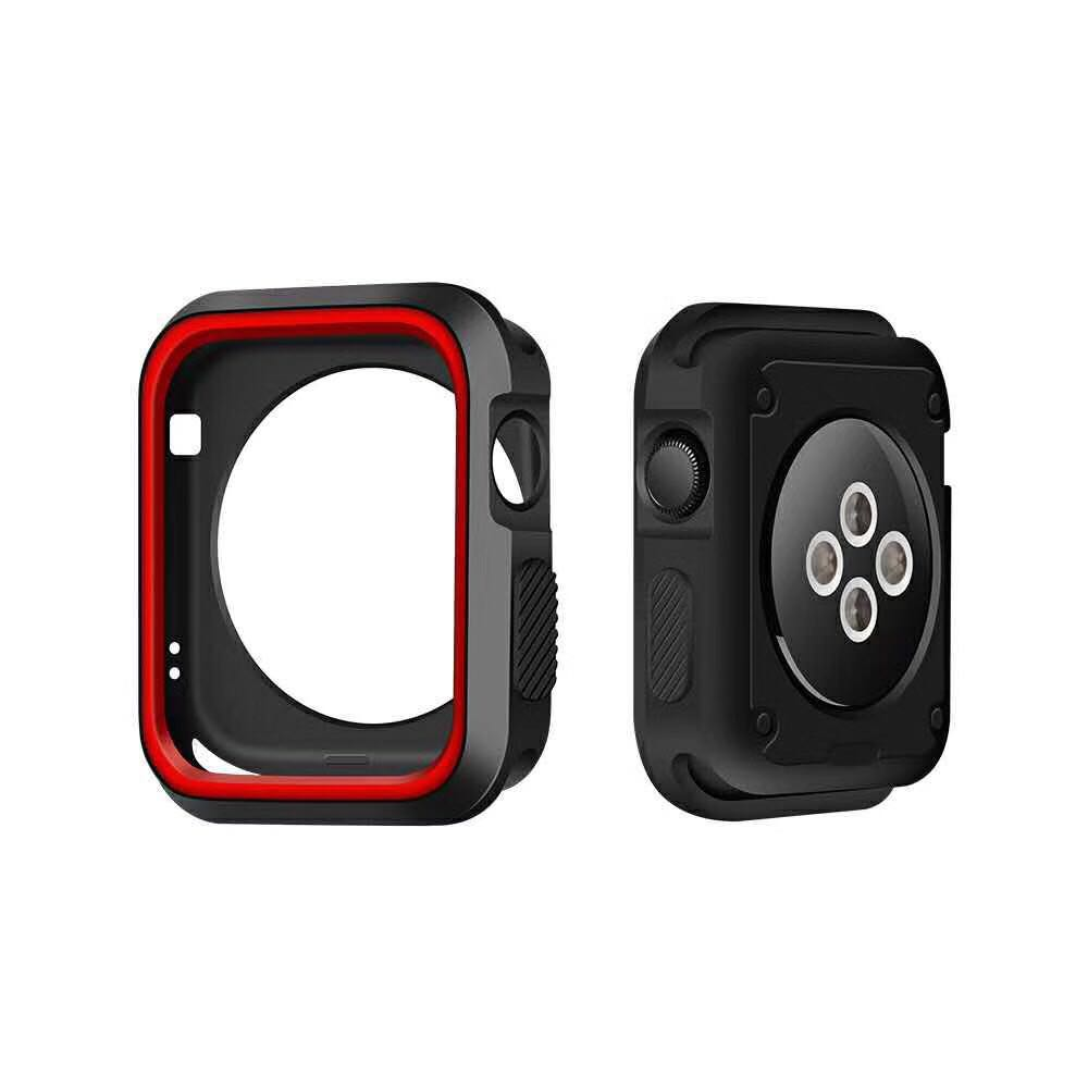 silicone cover for apple watch case 42mm 38mm 40mm 44mm sport band frame rubber soft case for iwatch series 4 3 2 1 back cover in Watchbands from Watches