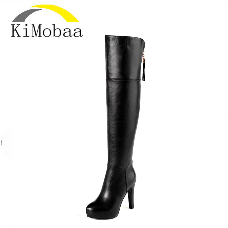 Kimobaa Over-the-knee Women Boots Full Genuine Leather Thigh High Women Shoes Sheep Suede Warm Winter Boots Platform Zip TX169 ppnu woman winter nubuck genuine leather over the knee snow boots women fashion womens suede thigh high boots ladies shoes flats