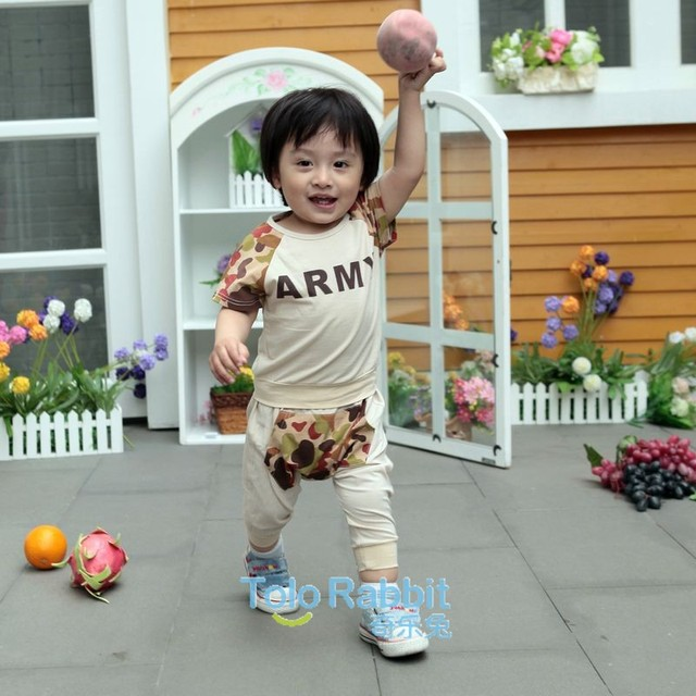 1PCS Free Shipping New Arrival  Kids Summer Clothes Set Short Sleeve T-Shirt + Pants Baby Unisex Clothing Garment Wear Cotton
