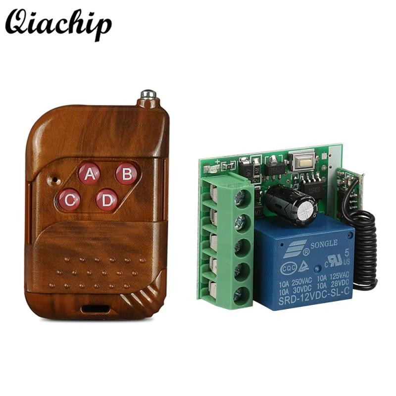 QIACHIP 433MHz 4CH DC 12V Transmitter Remote Control + 433 mhz RF Relay Receiver Button Remote Control Switch Door Garage Opener 12v dc 4ch relay 1 receiver