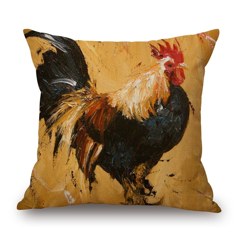 2016 Colorful Style Big Cock Farm Cushion Cover Customized Throw Pillow Home Decorative Cotton Linen Square