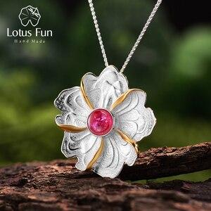 Image 1 - Lotos zabawy prawdziwe 925 srebro naturalne turmalin Handmade Fine Jewelry piwonia wisiorek kwiat bez naszyjnik dla kobiet