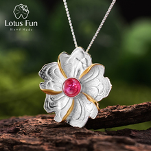 Lotus Fun Real 925 Sterling Silver Natural Tourmaline Handmade Fine Jewelry Peony Flower Pendant without Necklace for Women