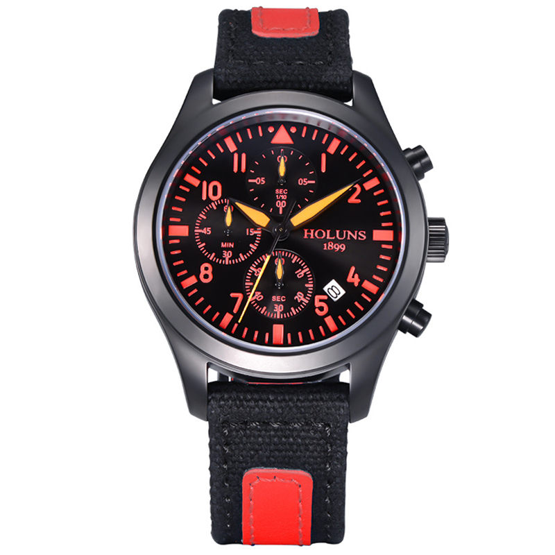 HOLUNS Luxury Men Fashion Sport Red Quartz Wristwatch  Stop Watch Date Display Dial Canvas Band Casual Cool Male Watch Best Gift simple fashion hand made wooden design wristwatch 2 colors rectangle dial genuine leather band casual men women watch best gift