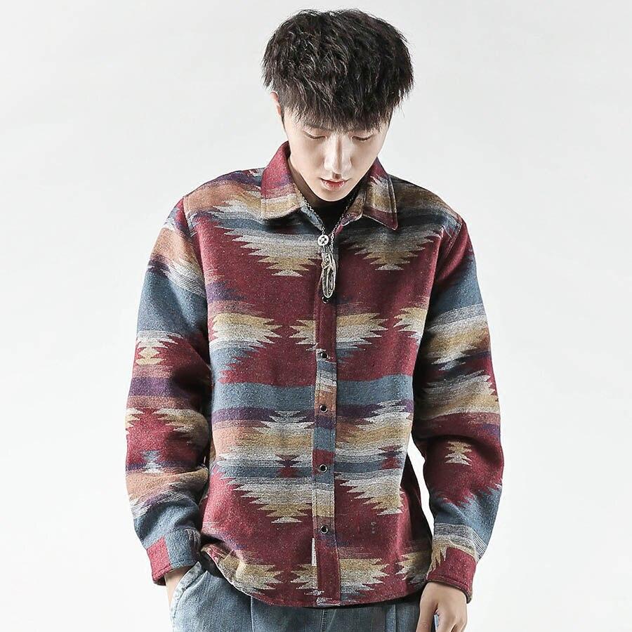 Long Sleeve Flannel Shirt Men Vintage Casual Hip Hop Mens Shirts Streetwear Korean Fashion Folk Custom Woolen Camisa Masculina