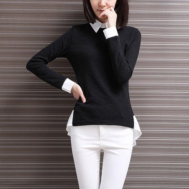 3ab087a9eeaee Yichaoyiliang OL Black Shirt Women Peplum T Shirts False Two Piece Pullover  Shirt Korean Style Long Sleeve Camisa