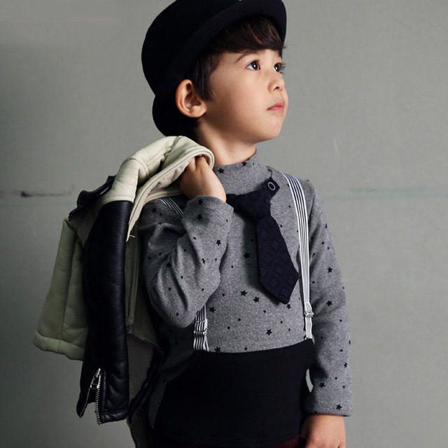 New 2017 Spring Winter Children T Shirts Baby Boys Tie Gentleman Star Long-sleeve T-shirt Kids Clothes Boy Casual Tops Tees