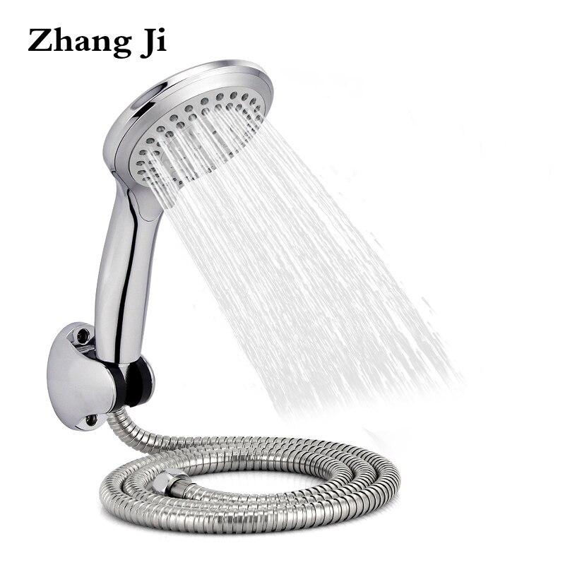 Zhangji redondo ducha de lluvia establece montado en la pared baño ducha + ducha tubería ajustable + funcional ducha asidero cabezas