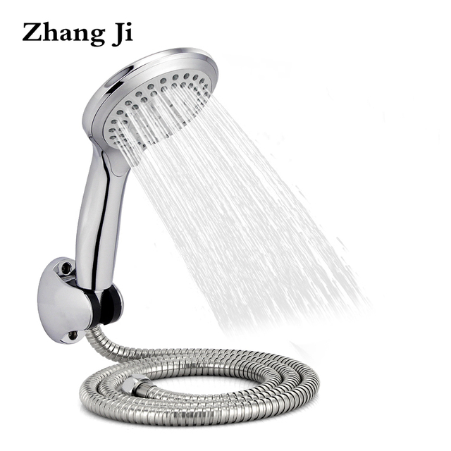 Zhangji Round Rain Shower Head Sets Wall Mounted Bathroom Shower Pipe+Shower  Holder Adjustable+