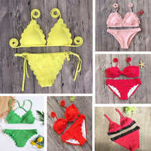 Sexy Bikini Black Red Bandage Woman Bikini Set 2018 Scalloped Swimwear Wave Edge Women Swimsuit Brazil Biquinis Bathing Suits(China)