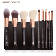 UNIQUE COLORS 9Pcs Makeup Brushes Set Powder Foundation Eyeshadow Eyebrow Make Up Brush Cosmetics Soft Synthetic Hair with Bag