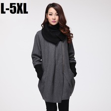 2015Fashion women woolen coat winter knitted collar ladies pea coat asymmetrical cocoon wool trench coat outwear overcoat XXXXXL