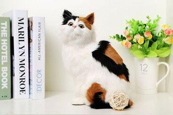 simulation cute squatting cat 19x14x21cm model polyethylene&furs cat model home decoration props ,model gift d490