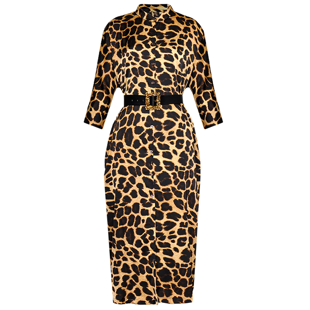 Red RoosaRosee Vintage Leopard Print Loose Waist Stand Collar Pencil Dress Women Summer Elegant Party Vestidos