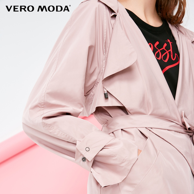 Vero Moda Women's Lapel Lace-up Medium Length Hooded Trench Coat | 318321504