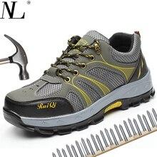 Защитная обувь, мужские летние ботинки со стальным носком и подошвой, дышащие легкие повседневные рабочие ботинки