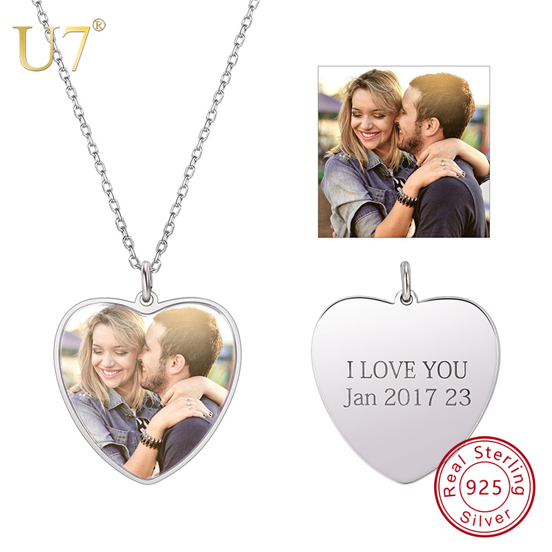 U7 100 925 Sterling Silver Heart Shape Engraved Personalized Custom Photo Pendant Necklace Mother s Day