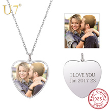 U7 100% 925 Sterling Silver Heart Shape Engraved Personalized Custom Photo Pendant Necklace Mother's Day Gifts For Lovers SC83 necklace 925 sterling silver custom photo