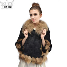 Fashon Women Real Whole Skin Rabbit Fur Coat With Natural Raccoon Fur Collar Jacket Winter Warm
