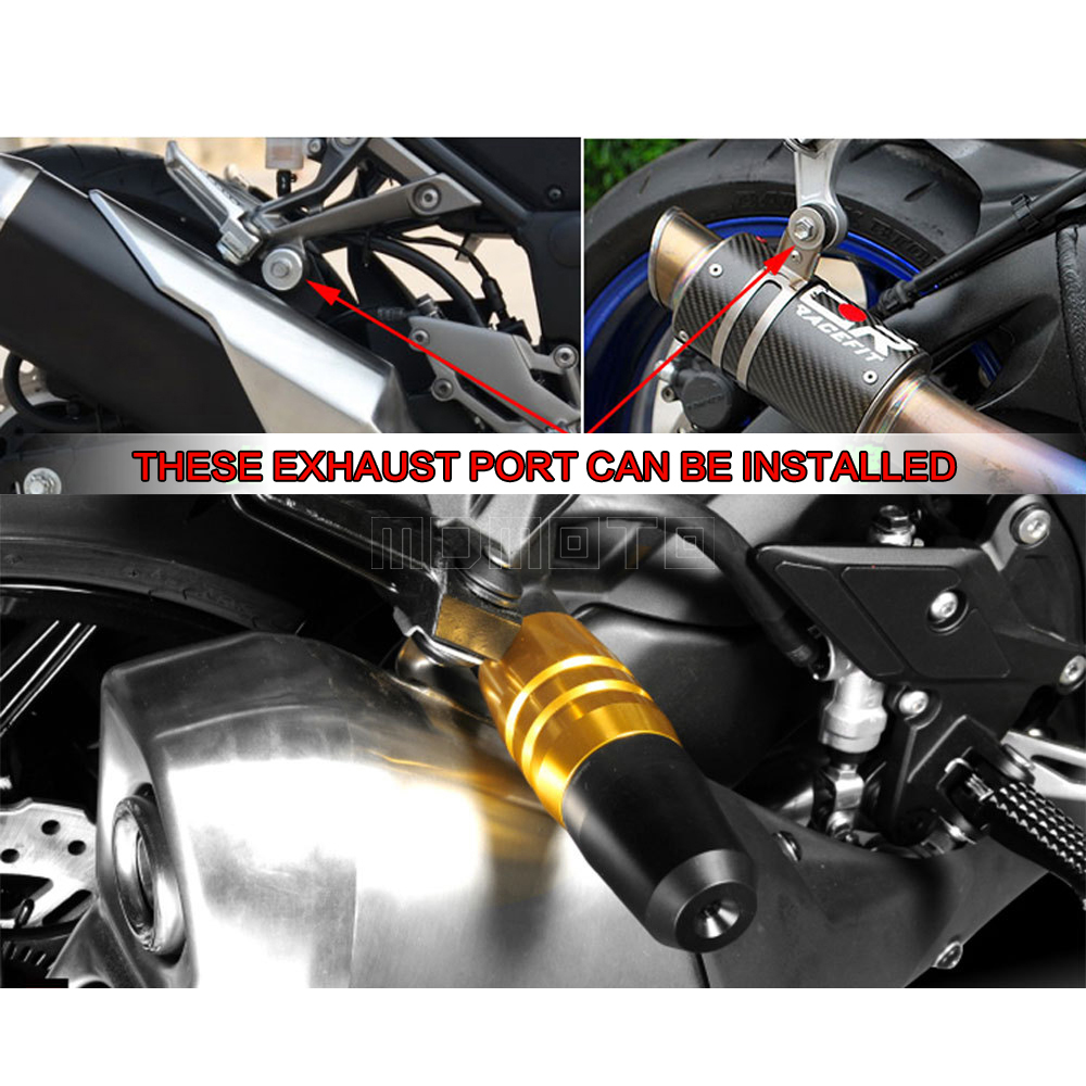 Motorcycle Exhaust Slider Crash Protector for kawasaki z750 z800 z300 zx9r zx12r zx14r z 800 zx 12r 9r ninja 300 250 z650 z900