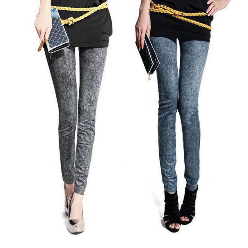 86094627857f7 Hot 2 Colors Sexy Faux Jean Skinny Pencil pant Jeans Jeggings Stretchy Slim Plus  Size Ankle